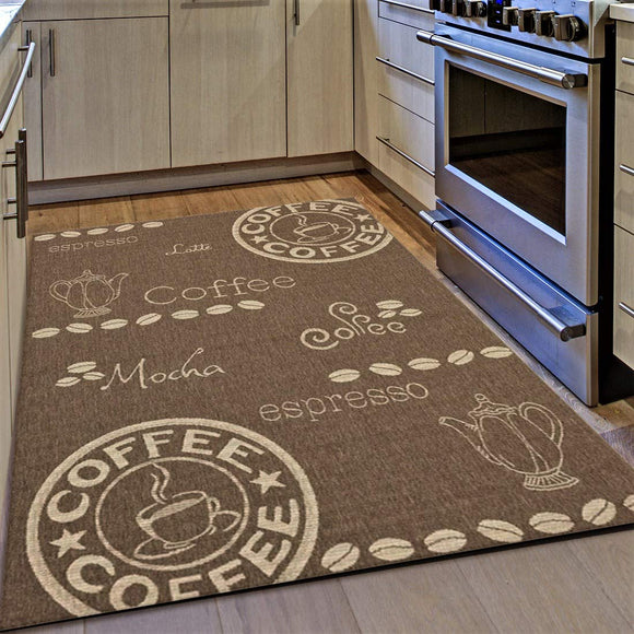 Kitchen Rug Coffee Design Brown and Beige Hard Wearing Flat Woven Floor Carpet Mat Indoor Areas