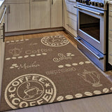 Kitchen Rug Coffee Design Brown and Beige Hard Wearing Flat Woven Floor Carpet Mat Outdoor Indoor Areas