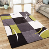 XRUG Modern Grey Green Black Rug Checkered Design Contour Cut Woven Low Pile Carpet Mat for Living Room & Bedroom