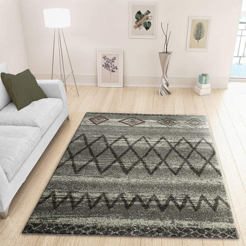 XRUG Modern Grey Silver Rug Geometric Pattern Bedroom Living room Carpet Woven Short Pile Mat