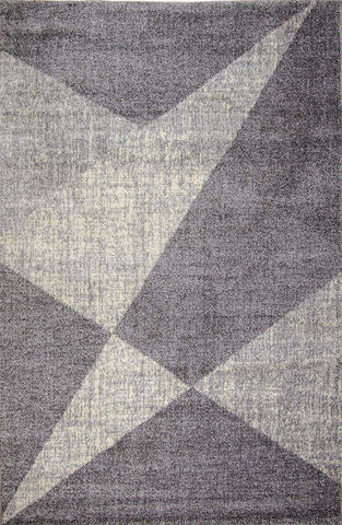 XRUG Modern Grey Rug Abstract Geometric Pattern Woven Short Pile Carpet Mat for Living Room or Bedroom