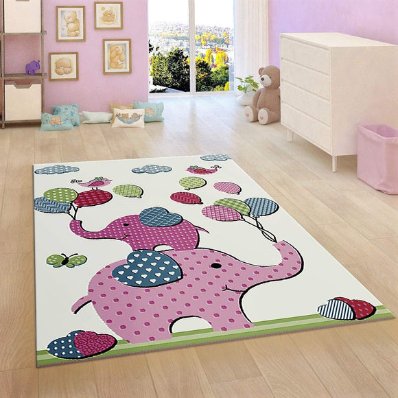 Kids Children Nursery White Cream Rug Elephant Woven Mat Low Pile Carpet for Baby Playroom & Bedroom
