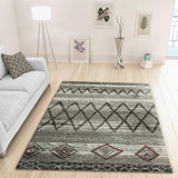 Modern Ivory Grey Rug Geometric Pattern Woven Low Pile Carpet Mat for Living room & Bedroom