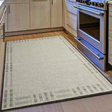 Kitchen Rug Grey Black Beige Border Pattern Hard Wearing Flat Weave Carpet Outdoor Indoor Floor Mat