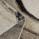 Modern Abstract Rug Beige Grey Wave Deisgn Thick Pile Woven Short Pile Carpet Mat for Living room or Bedroom