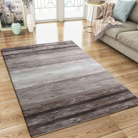 Modern Brown Cream Striped Rug Woven Short Pile Carpet Mat for Living Room or Bedroom