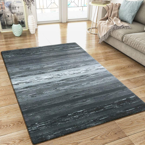 XRUG Modern Grey Black Striped Rug Woven Short Pile Carpet Mat for Living Room or Bedroom