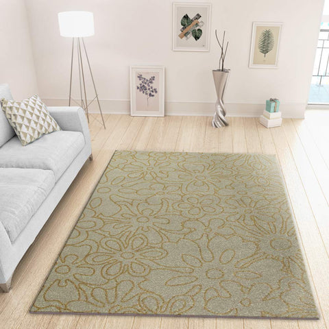 Contemporary Rug for Living Room or Bedroom with Exclusive Floral Pattern in Ivory and Ochre Сolours Soft Polypropylen Short Pile Woven Carpet Mat