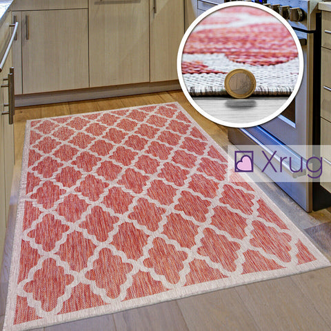 Red Kitchen Rug Modern Flat Weave Rugs Trellis Carpets Small Large Long Runners