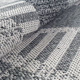 Grey Geometric Rug 100% Cotton Small Extra Large XL Washable Modern Flat Weave Carpet Woven Room Mat