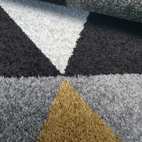 Geometric Rug 120x170 70x140 160x230 Yellow Grey Black Patterned Rugs Carpets Mats