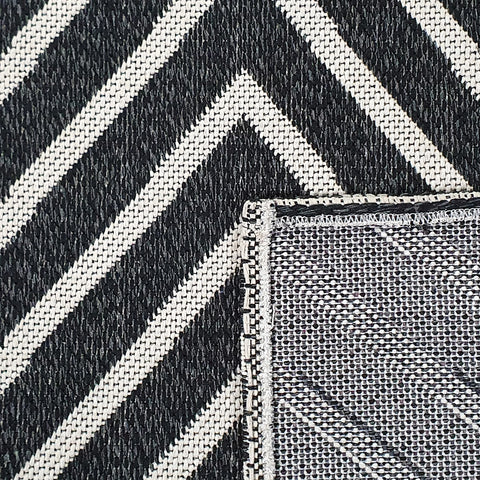 Modern Black Rug 100% Cotton Washable Large Small Living Room Carpet White Cream Geometric Pattern Flat Woven Mat