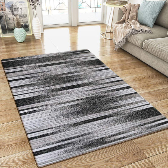 XRUG Modern Grey and Black Striped Rug Woven Short Pile Carpet Mat for Living Room or Bedroom