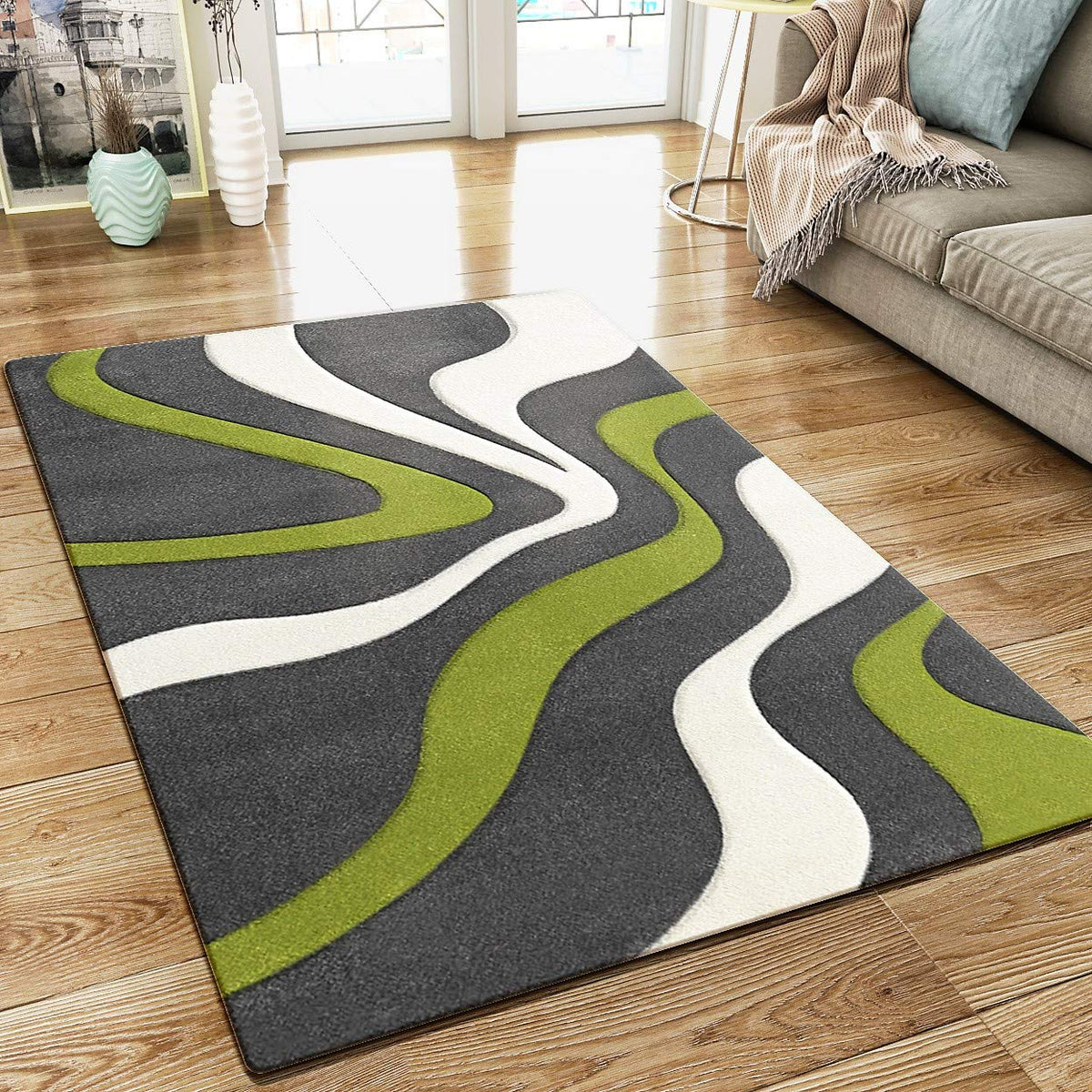 Abstract Rug Grey Green White Wave Design Contour Cut Woven Low Pile C Xrugs