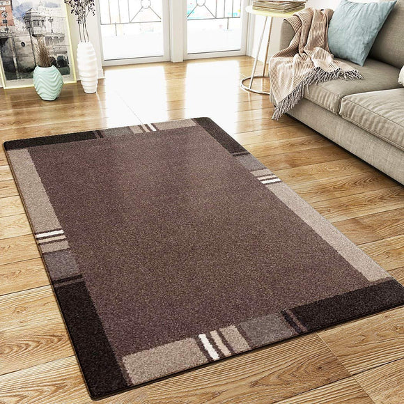 XRUG Modern Geometric Rug Border Design Brown Beige Woven Short Pile Carpet Mat for Living Room or Bedroom