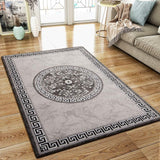 Oriental Flaral Pattern Rug Grey Black Shimmer Ornaments Woven Low Pile for Living Room or Bedroom