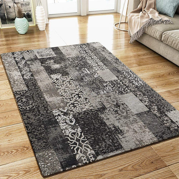 XRUG Modern Grey Rug Vintage Patchwork Design Woven Jacquard Weave Carpet Mat for Living Room & Bedroom Floor