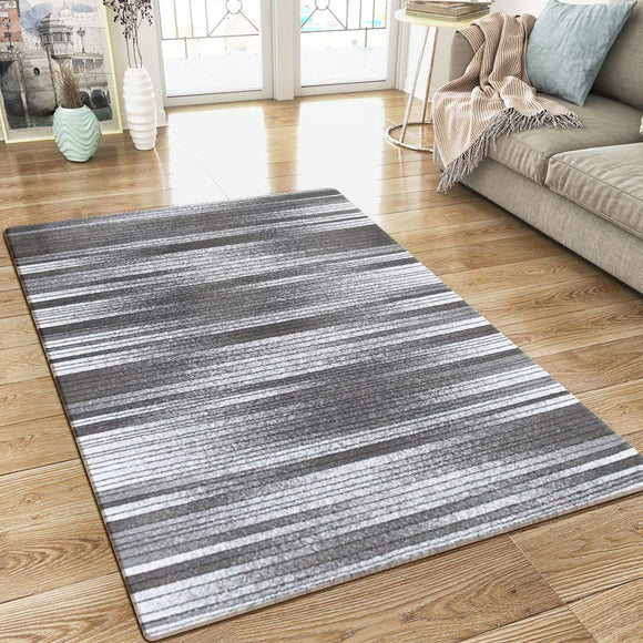 Modern Grey Striped Rug Woven Short Pile Carpet Mat for Living Room or Bedroom