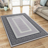 Modern Rug Silver Grey Black Border Design Oriental Woven Short Pile Carpet Mat for Living Room & Bedroom