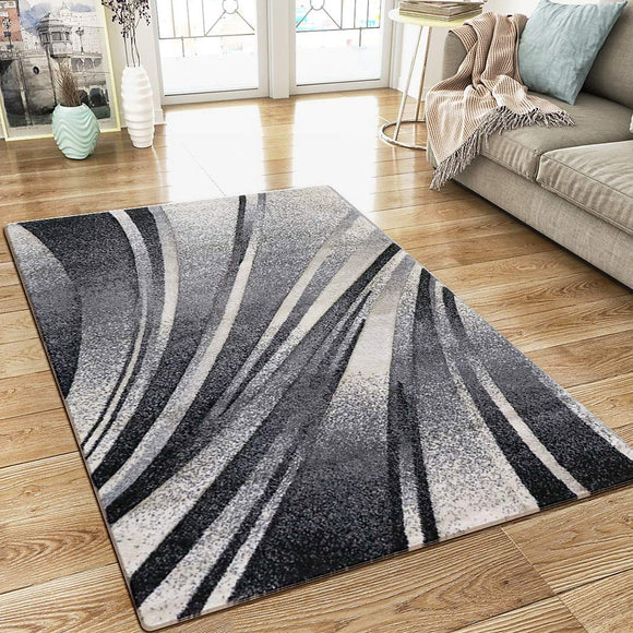 Modern Abstract Grey Black Cream Rug Woven Short Pile Carpet Mat for Living Room or Bedroom