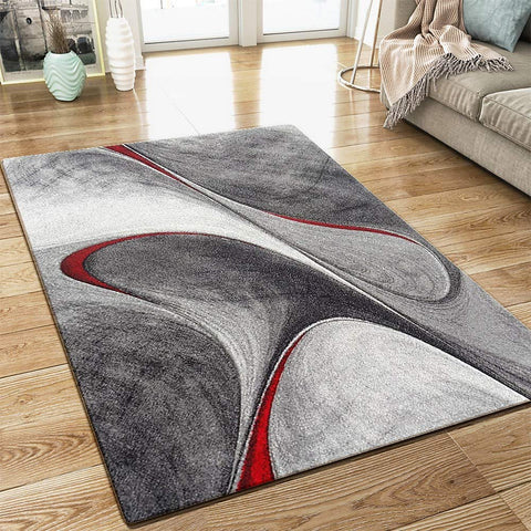 Designer Grey Rug Abstract Contour Red Pattern Woven Modern Art Carpet Mat for Living Room & Bedroom