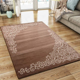 Modern Brown Beige Rug Glitter Floral Pattern Woven Low Pile Carpet Mat for Living Room & Bedroom