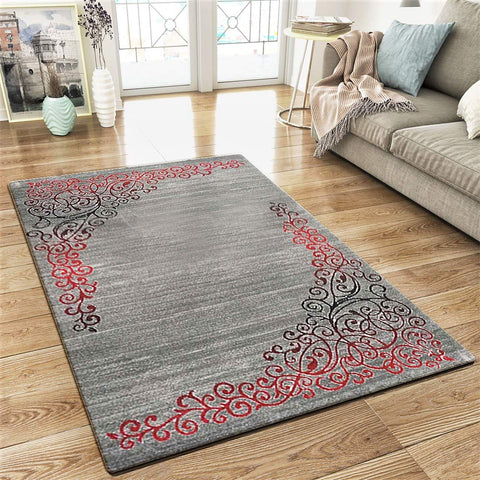 XRUG Modern Grey Red Rug Glitter Floral Pattern Woven Short Pile Carpet Mat for Living Room & Bedroom