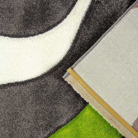 Abstract Rug Grey Green White Wave Design Contour Cut Woven Low Pile Carpet Mat for Living Room & Bedroom