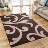 Modern Floral Rug Brown Beige Contour Cut Pattern Damask Design Carpet Mat for Living Room & Bedroom
