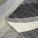 Modern Rug Silver Grey Ivory Abstract Design Woven Short Pile Carpet Mat for Living Room & Bedroom