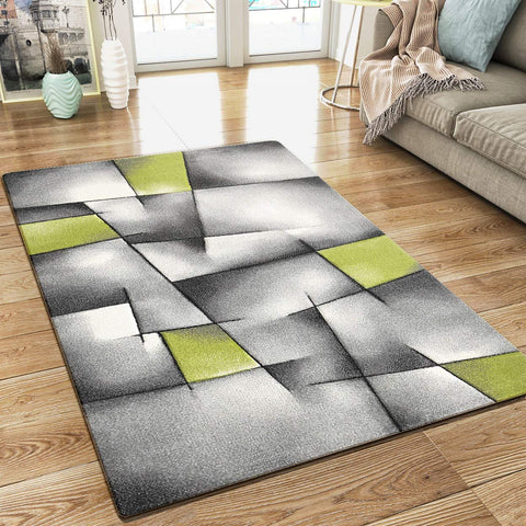 XRUG Modern Grey Green Rug Geometric Pattern Woven Low Pile Carpet Mat for Living room or Bedroom