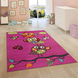 Kids Children Nursery Pink Rug Owl Pattern Woven Low Pile Carpet Mat for Baby Play Room & Bedroom