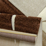 Modern Rug Brown Beige Cream Checkered Design Contour Cut Woven Low Pile Carpet Mat for Living Room & Bedroom