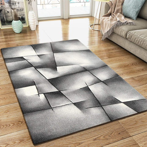 XRUG Modern Grey Rug Geometric Pattern Woven Short Pile Carpet Mat for Living Room or Bedroom