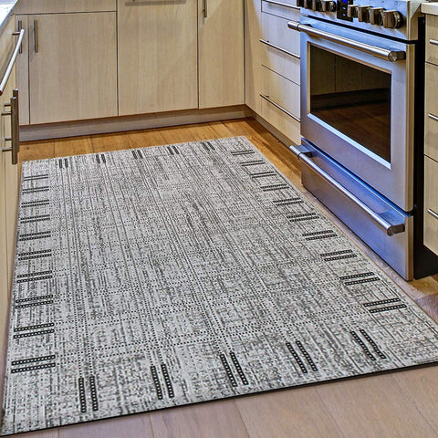 Kitchen Rug Grey Black Border Pattern Hard Wearing Flat Weave Carpet Indoor Floor Mat