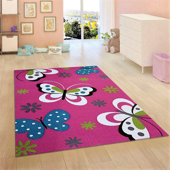 Kids Children Nursery Pink Rug Butterfly Woven Low Pile Carpet Mat for Baby Girl Play Room & Bedroom