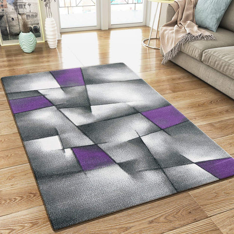 XRUG Modern Grey Purple Rug Geometric Pattern Woven Low Pile Carpet Mat for Living room or Bedroom