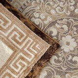 Oriental Pattern Rug Brown Beige Cream Shimmer Ornaments Woven Short Pile for Living Room or Bedroom