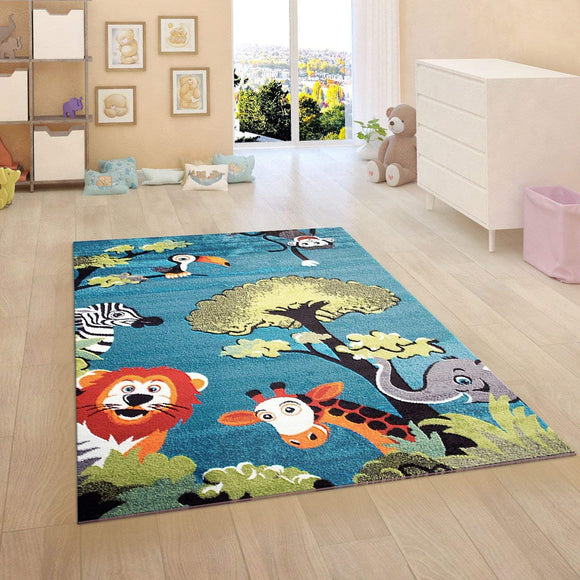 Kids Jungle Rug Nursery Rug Blue Animal Turquoise Children Play Room Carpet Mat