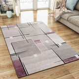 Abstract Rug Silver Grey Purple Contour Cut Pattern Modern Woven Carpet Mat for Living room & Bedroom