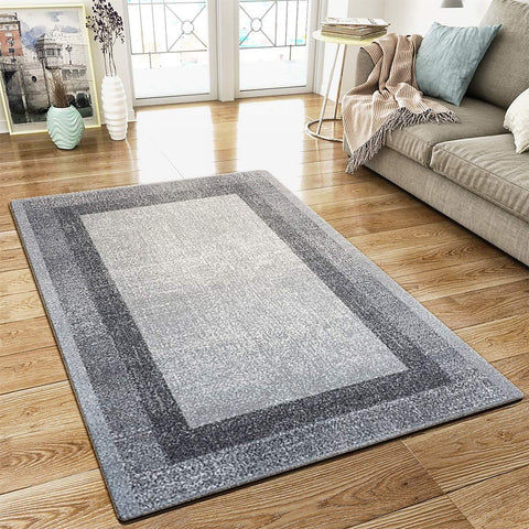 XRUG Modern Grey Geometric Rug Border Design Thick Pile Woven Carpet Mat for Living Room & Bedroom
