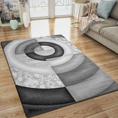 Modern Designer Abstract Rug Grey Black Art Pattern Amsterdam Woven Carpet Mat for Living Room or Bedroom