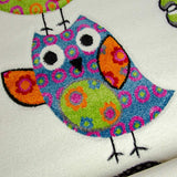 Kids Nursery Cream White Rug Owl Woven Short Pile Carpet Unisex Mat for Children Play Room & Bedroom
