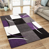 Modern Rug Grey Purple Black Cream Checkered Design Contour Cut Woven Carpet Mat for Living Room & Bedroom