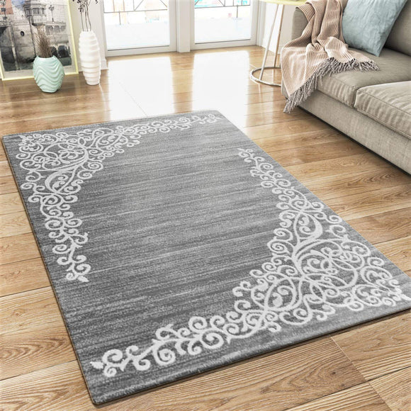 XRUG Modern Grey Rug Glitter Floral Pattern Woven Short Pile Carpet Mat for Living Room & Bedroom