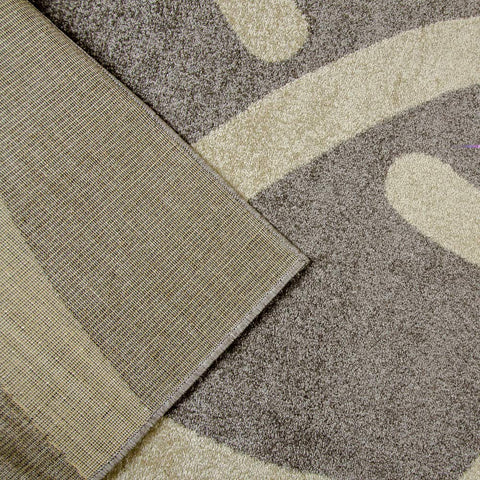 Contemporary Rug for Bedroom Modern Living Room or Dining Room with Abstract Geometric Patterned Grey and Silver Short Pile Woven Carpet Soft Mat