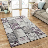 Modern Rug Grey Pink Patchwork Design Woven Low Pile Carpet Mat for Living Room & Bedroom