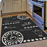 Kitchen Rug Coffee Design Black and White Hard Wearing Flat Woven Floor Carpet Mat Outdoor Indoor Areas
