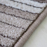 Modern Striped Brown Cream Rug Woven Short Pile Carpet Mat for Living Room or Bedroom