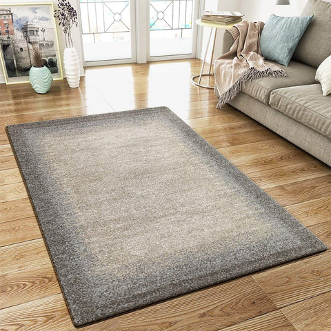 Modern Border Design Rug Brown Beige Thick Pile Woven Carpet Mat for Living room & Bedroom